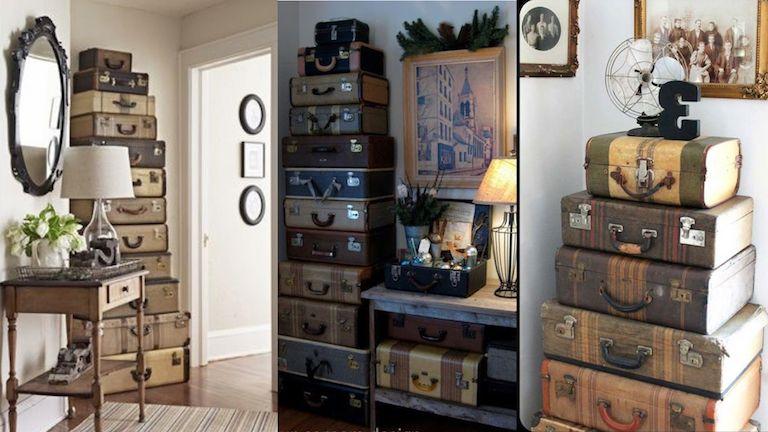 Antik bőröndök enteriőrbe rendezve 5