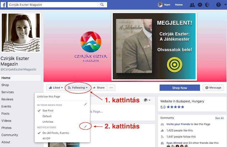 Facebook desktop oldal 1