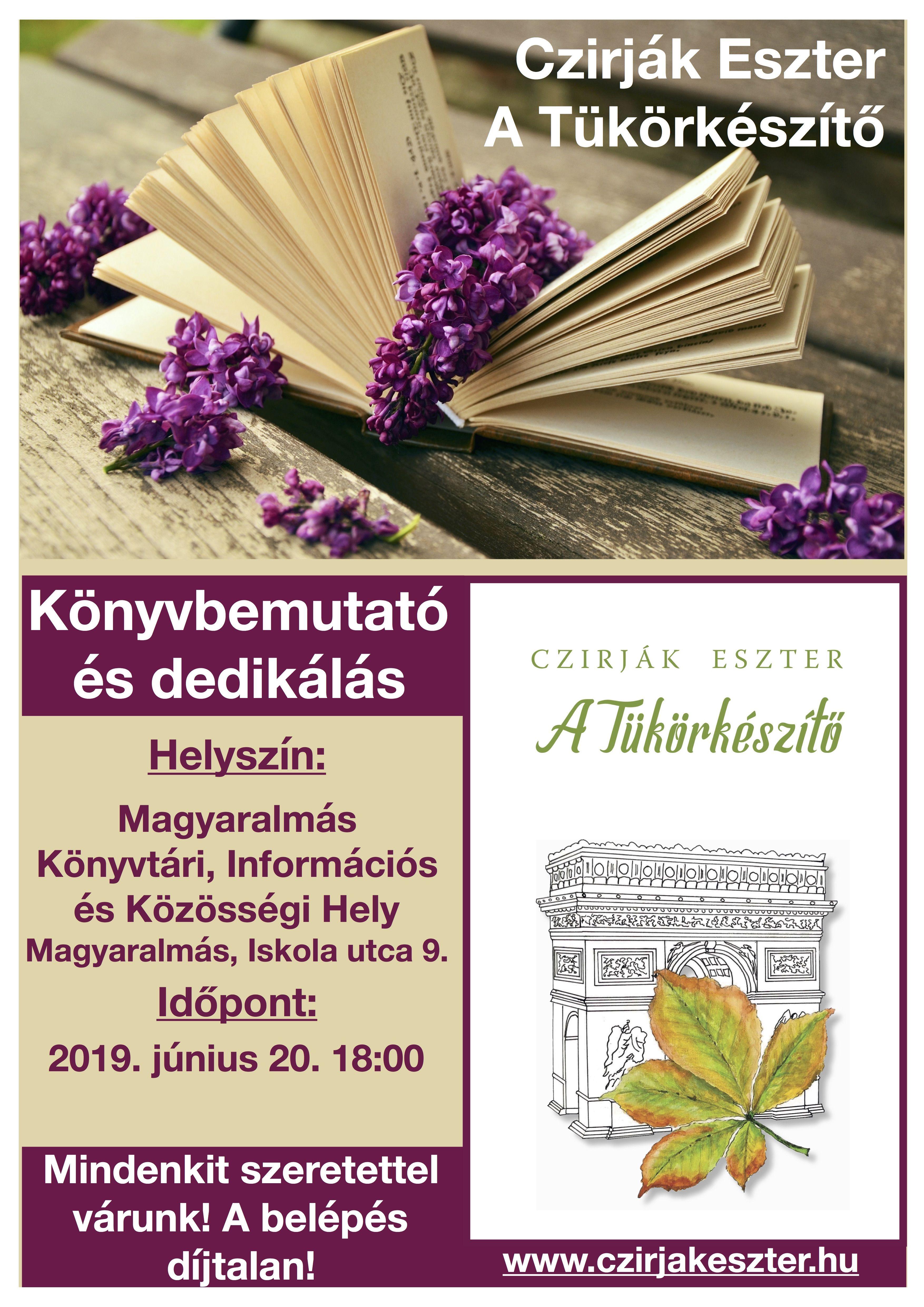 A Tükörkészítő könyvbemutató plakátja