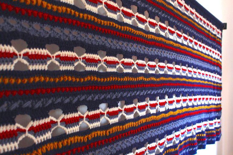 Kék, priros, sárga, fehér ismétlődő mintákkal horgolt falvédő 3