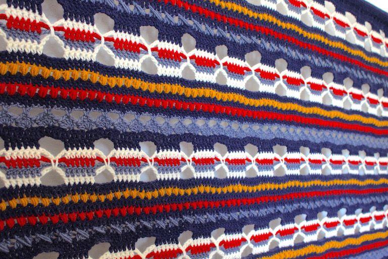 Kék, priros, sárga, fehér ismétlődő mintákkal horgolt falvédő főkép